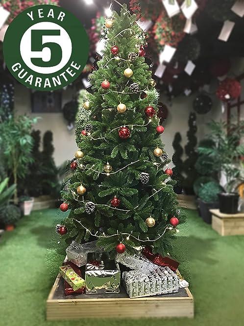 best artificial slim premium 7ft 205cm real feel hinged christmas tree with 1100 full pe - Full Christmas Tree