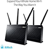 ASUS AC1900 Whole Home Dual-Band AiMesh Router (2PK) for Mesh Wifi System (Up to 1900 Mbps) - AiProtection Network Security by Trend Micro, Adaptive QoS & Parental Control (RT-AC68U AiMesh 2 Pack)