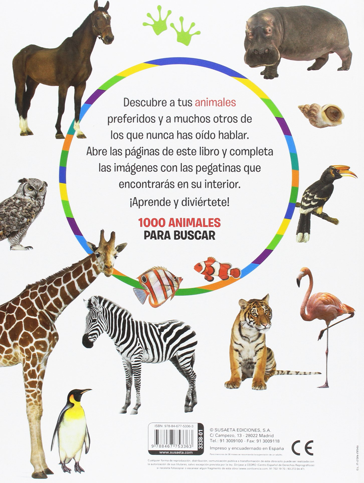 1000 Animales para buscar 1000 pegatinas para buscar: Amazon.es: Susaeta, Equipo: Libros