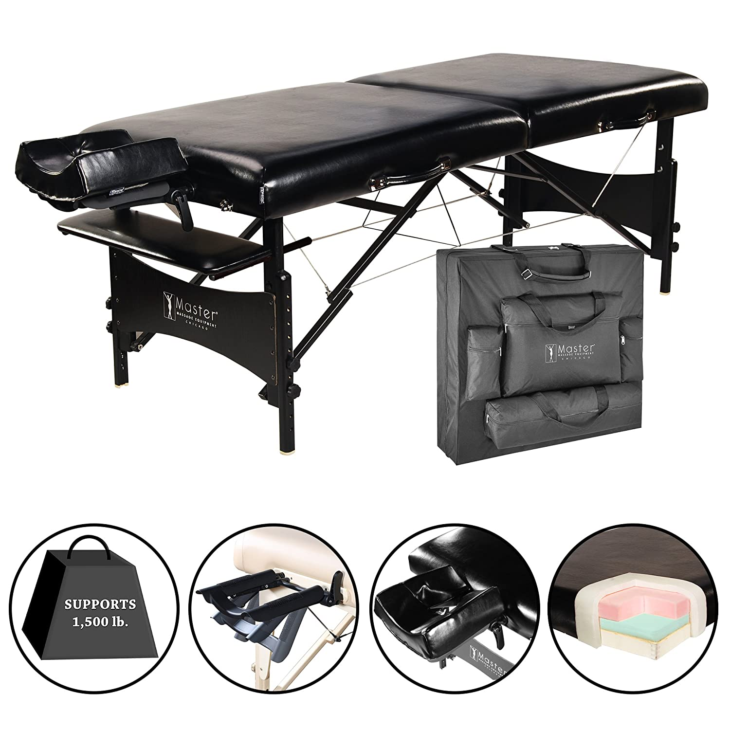 """Master Massage 30"""" Galaxy Lx Portable Massage Table Package Black Color with Memory Foam"""