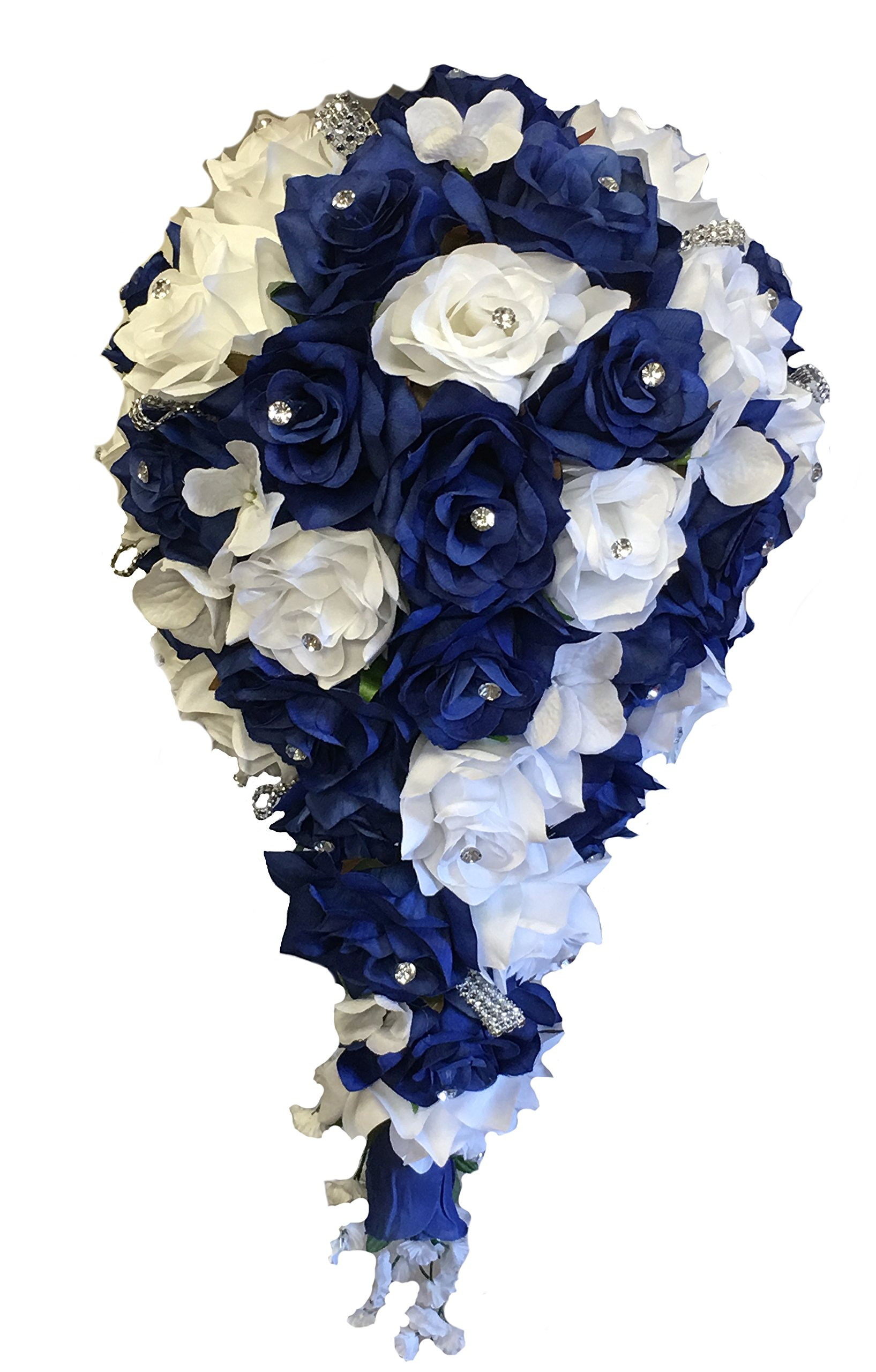 Angel-Isabella-2pc-Set-Cascade-Bridal-Bouquet-Boutonniere-Wbling-Royal-Blue-White-Silk-Flowers