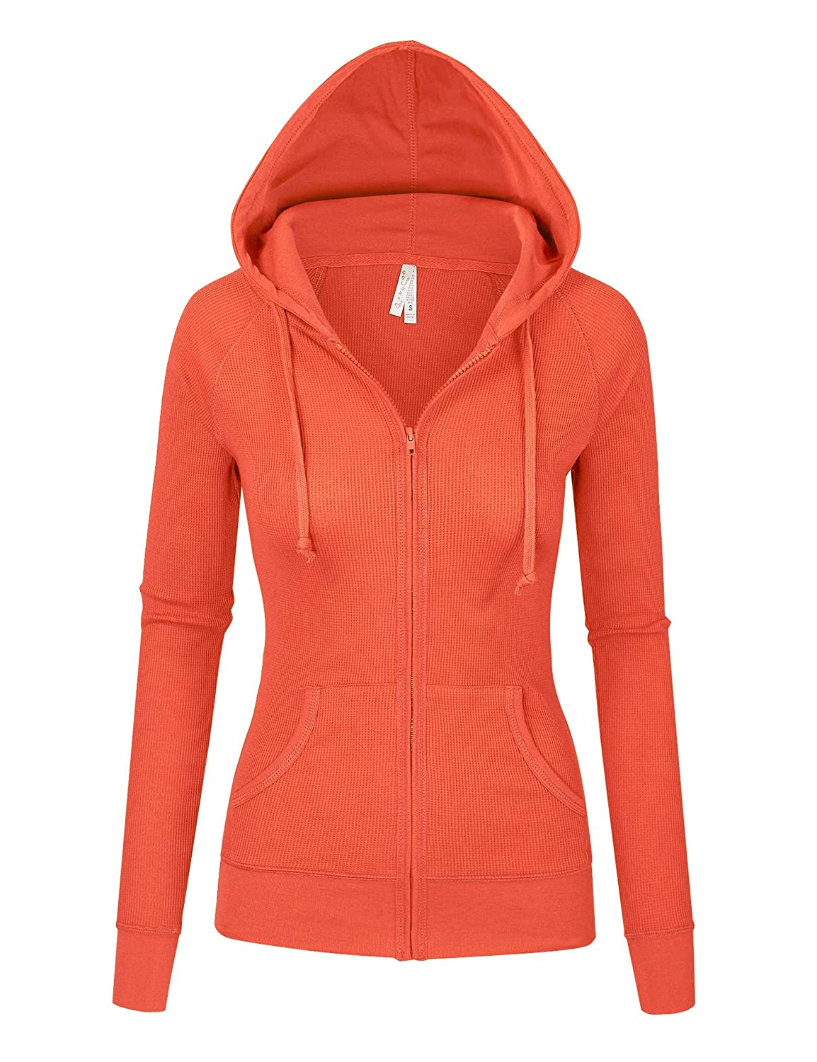 orange Womens Multi colors Thermal Zip Up Casual Hoodie Jacket S3X