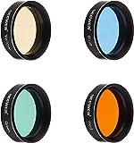 """Neewer® Standard 1.25 """"Filtres de Quatre Couleurs pour Télescope Oculaire: Rouge / Jaune / Vert / Bleu, Parfait pour Lunar / Observation Planétaire, faite d'armature en Aluminium et Verre Premium Optique"""