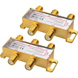 Cable Matters 2-Pack Bi-Directional 2.4 Ghz 4 Way Coaxial Cable Splitter for STB TV, Antenna and MoCA Network - All Port Powe