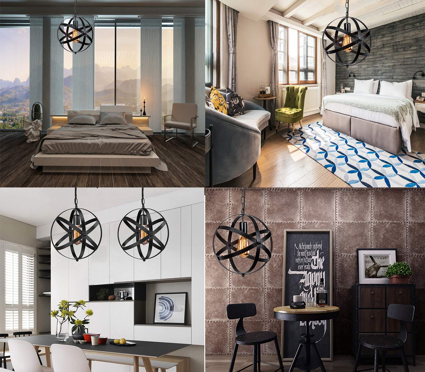Industrial Plug in Pendant Light INNOCCY E26 E27 Industrial Hanging Light Metal Globe Vintage Pendant Light Fixture with 14.8Ft Hanging Cord and ON//OFF Switch  1 Pack