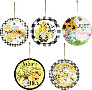 Wooden Bee Gnome Sign Decoration, Bee Day Plaid Hanging Wooden Sign Decor, DIY Cute Bee Pendant, Gift Tag Embellishment, Scandinavian Honey Bee Wall Tree Garden Farmhouse Indoor Outdoor - 5 Pack