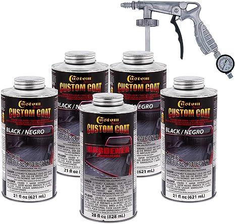 Custom Coat Black 0 875 Gallon Urethane Spray On Truck Bed Liner Kit With Spray Gun With Regulator