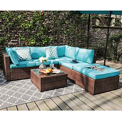 Magnificent Oc Orange Casul 6 Piece Outdoor Patio Sectional Sofa Set Brown Wicker Furniture Set With Turquoise Seat Cushions Tempered Glass Coffee Table Ncnpc Chair Design For Home Ncnpcorg