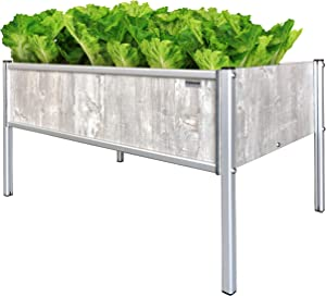 "Foreman Garden Bed Planter Box Kit 36""Lx24""Wx25""H Premium HPL Plastic Wood Grain (Monte) Anodized Aluminum Outdoor Indoor Made in The USA"