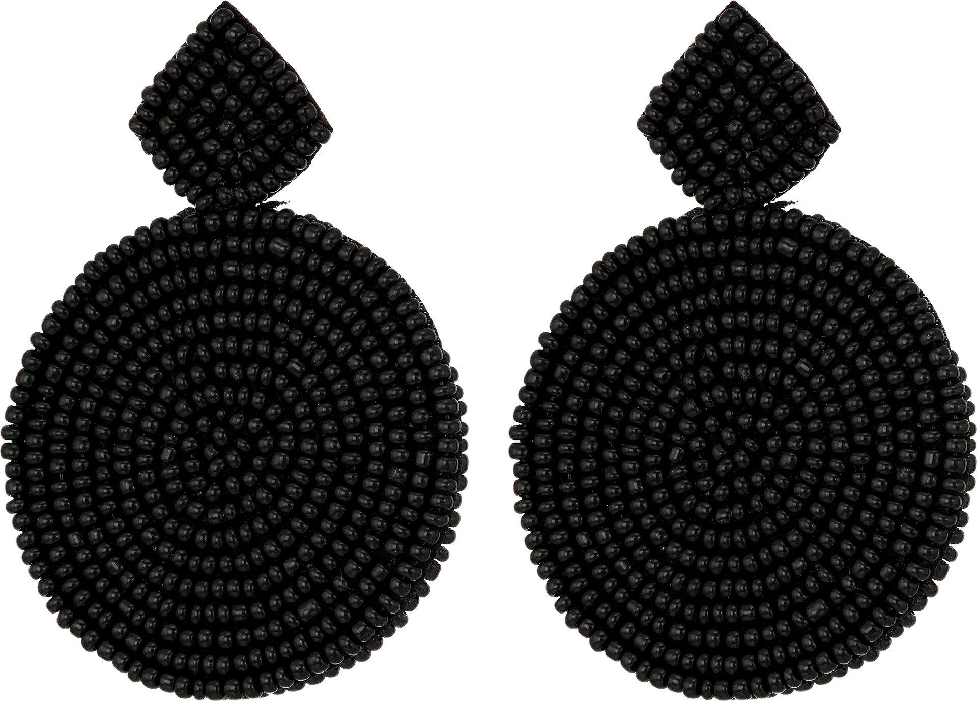 Kenneth Jay Lane Women's Small Black Diamond Shape Top/Round Seedbead Pierced Earrings Black One Size by Kenneth Jay Lane (Image #1)