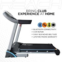 REACH T- 5110 | Best Bluetooth App Driven Automatic Motorized Treadmill for Home Use Fitness Workout | Hydraulic Folding | 3HP Motor | Auto Inclination | Pro Cushioned - Easy On Knees