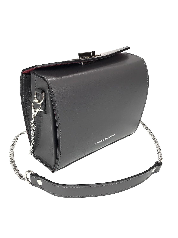 Echt Leder Handtasche mit langem Trageriemen, 25x17x7cm (schwarz) Collezione Alessandro