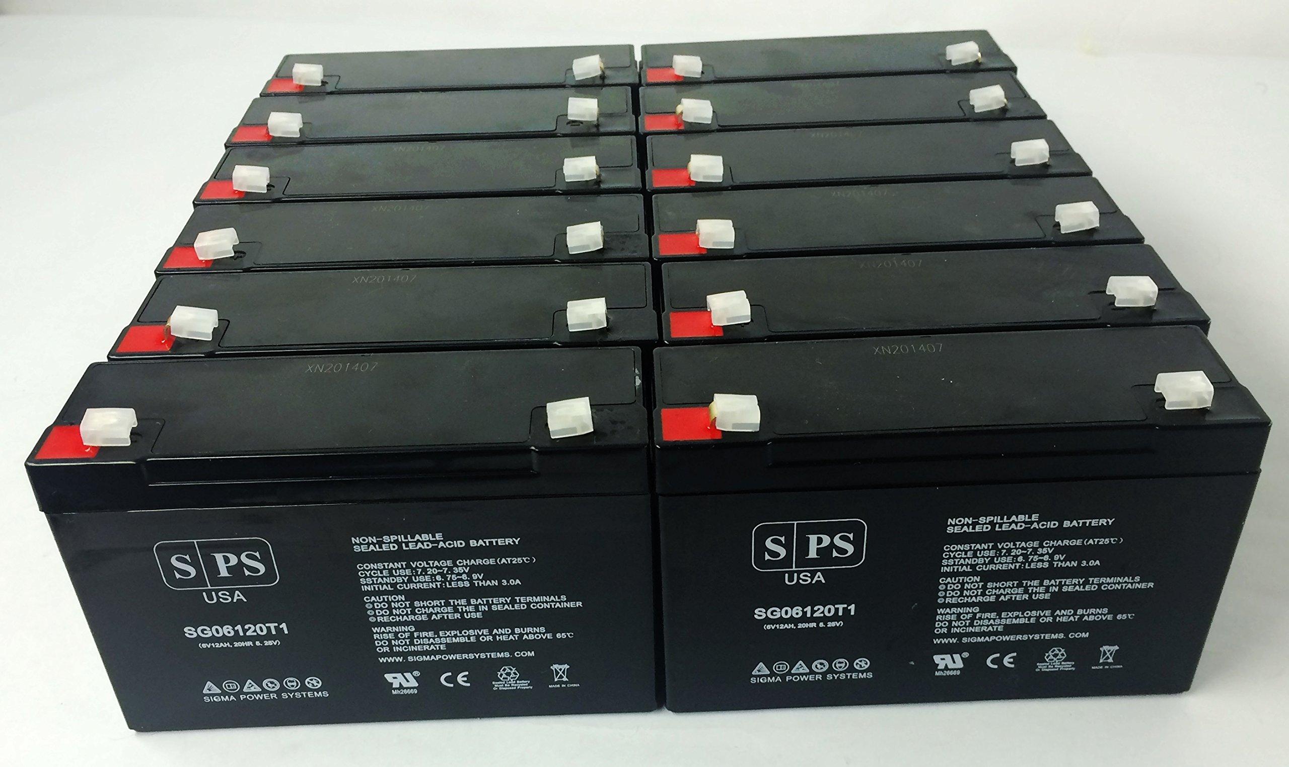 6V 12Ah Lithonia ELB0612 6V 12Ah Emergency Light Replacement Battery - SPS BRAND (12 Pack)
