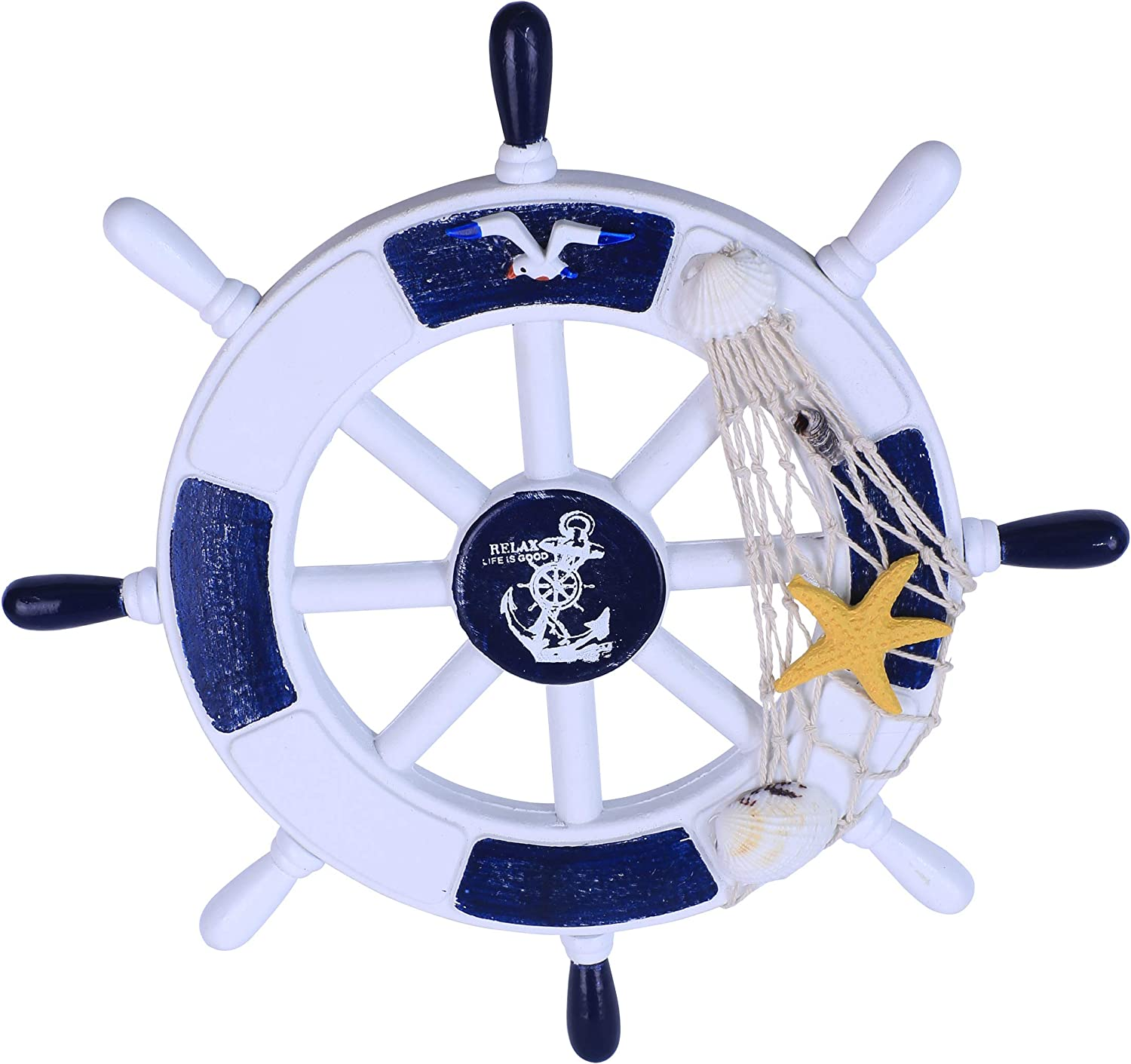 "Art Maison Beach Nautical Wooden Boat Ship Steering Wheel with Fishing Net Shell Bird, White and Dark Blue, 11"" Diameter"