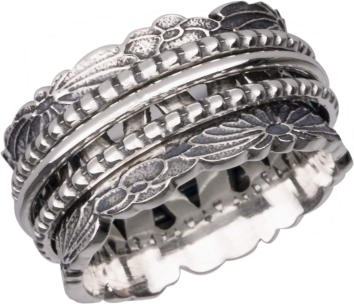 Energy Stone Chrysanthemum Sterling Silver Meditation Spinner Ring with Three Spinners Style SR78