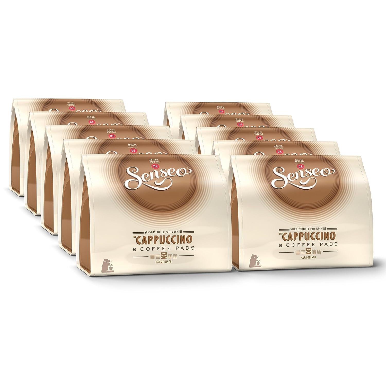 Senseo Cappuccino, Nouveaux Design, Nouvelle Composition, Lot de 10, 10 x 8 Dosettes de Café