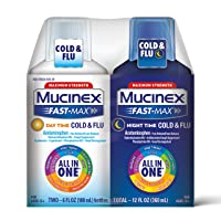 Mucinex Fast-Max Day Time Cold & Flu and Night Time Cold & Flu Liquid Medicine,...