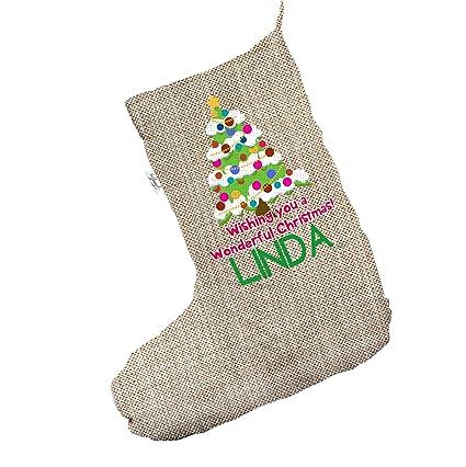 Calcetín Árbol de Navidad grande de arpillera de Navidad medias calcetines