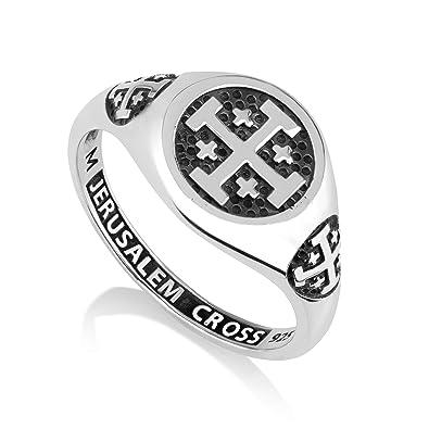 e15c4b4ad5 Marina Jewelry 925 Sterling Silver Signet Ring, Womens or Mens, Engraved  Jerusalem Cross|Amazon.com