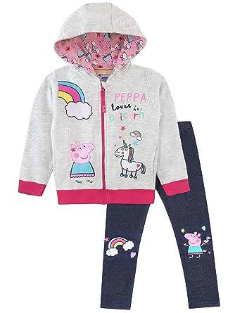 0ae598aada3d91 Peppa Pig Girls Unicorn Hoodie & Leggings Set Multicoloured Age 7 to 8 Years