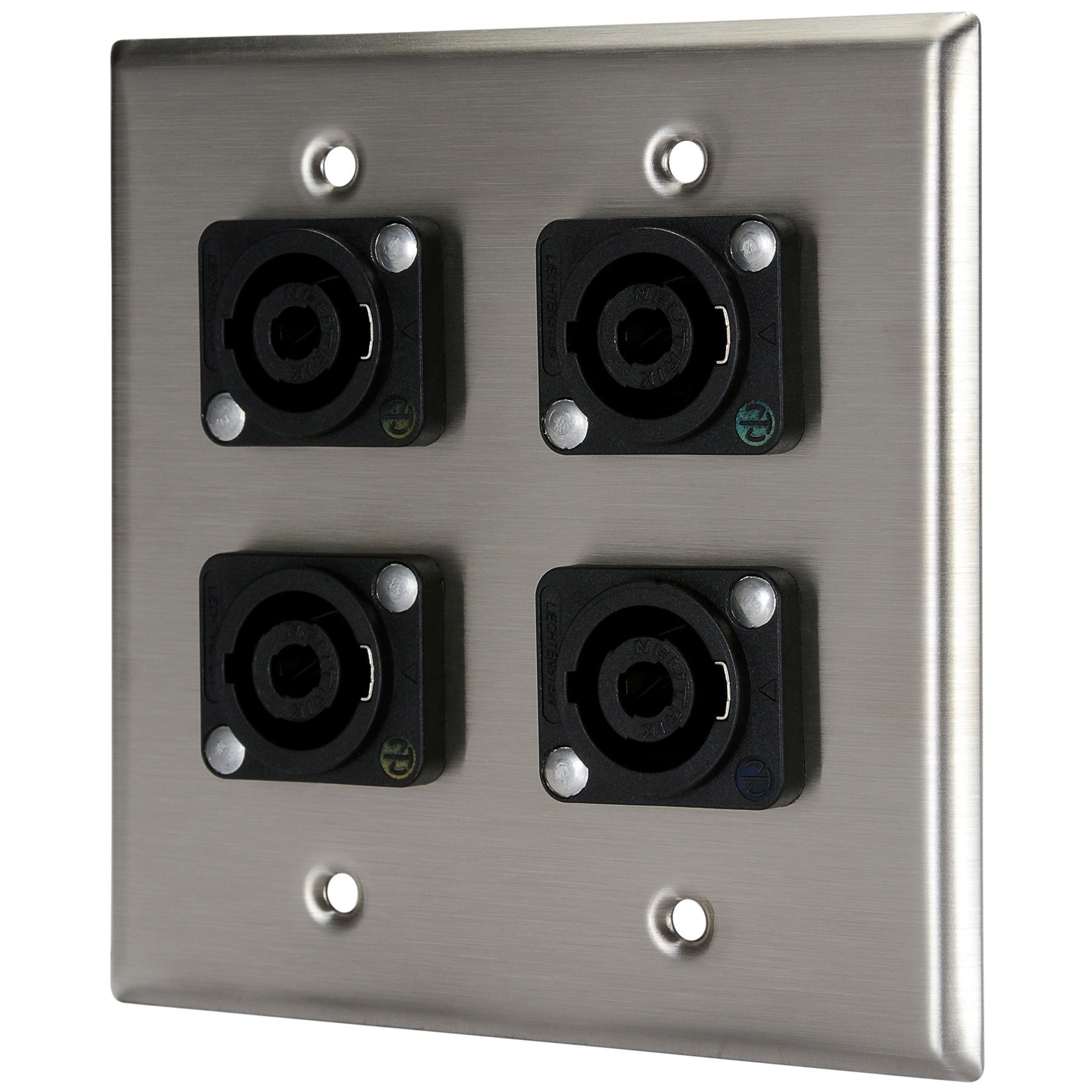Pro Co WP2033 (4) Speakon Stainless Steel Metal Wallplate Dual Gang
