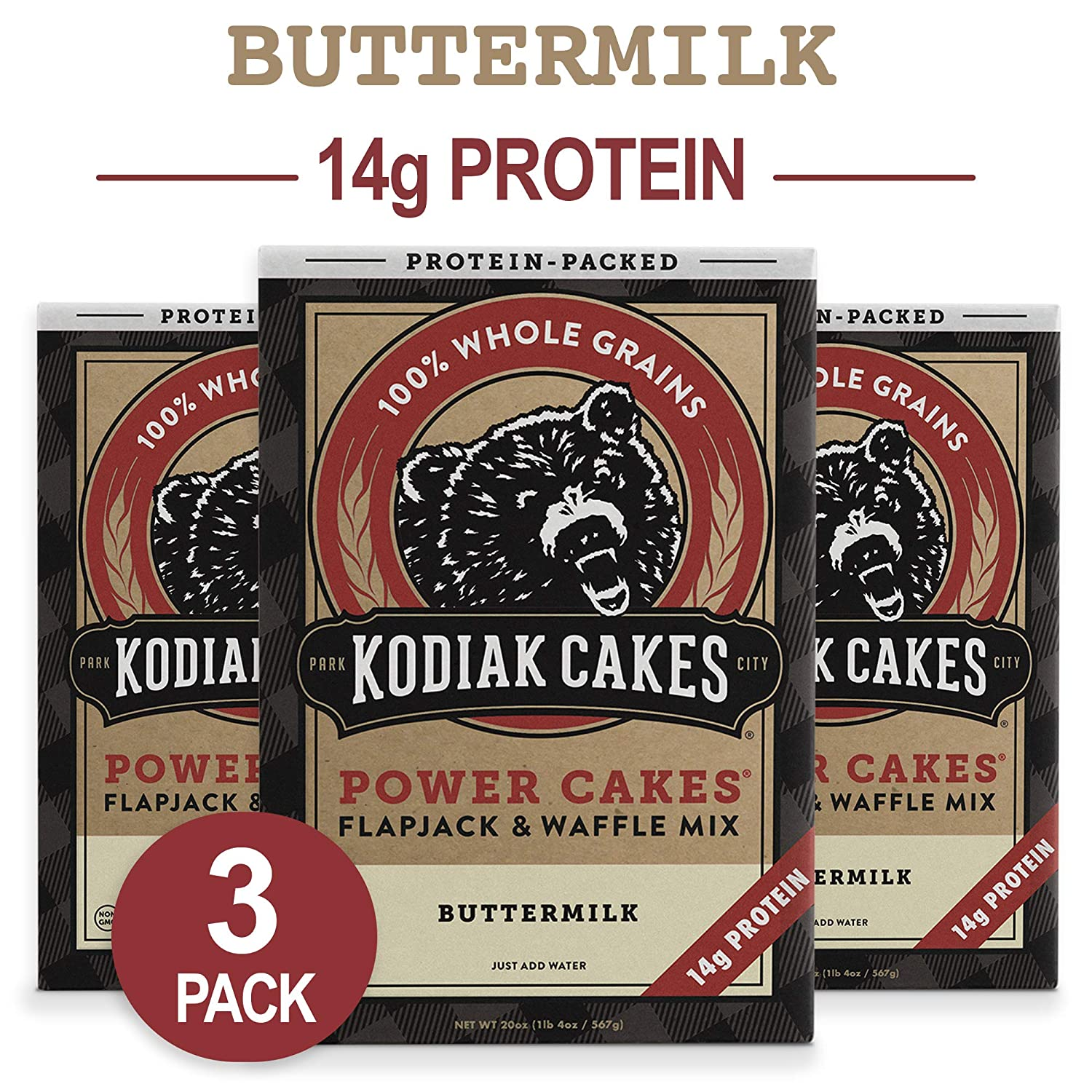 Kodiak Cakes Protein Pancake Power Cakes, Flapjack and Waffle Baking Mix,  Buttermilk, 20 Ounce (Pack of 3)