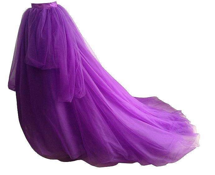Flowerry Women Long Tutu Skirt With Train Bridal Tulle Maxi Purple 3XL