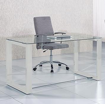 Mesa de estudio oficina Office , cristal transparente y blanco ...