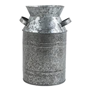 "DII Z02275 Galvanized Metal Farmhouse Rustic Old Fashioned Tin Jug, 6.75"" Diameter x 11.5"" Tall, Milk Can"