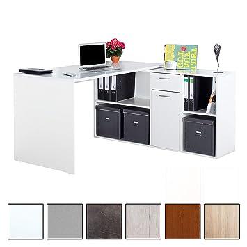 Ricoo Schreibtisch Wm081 W Holz Hell Weiß Winkelkombination