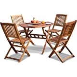 Leisure Zone Folding Garden Octagonal Table & Chairs Wooden Dining Set-4 Seater Outdoor Indoor Garden Patio Conservatory Furniture 5 piece Set-100 x 100 CM Solid Acacia Wood, 2 Year Warranty (Natural)