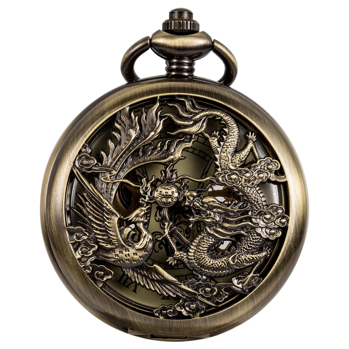 SIBOSUN Mechanical Pocket Watches Mens, Lucky Phoenix and Dragon, Skeleton Pocket Watch, Black Antique Roman Numerals with Gift Box (Bronze) by SIBOSUN