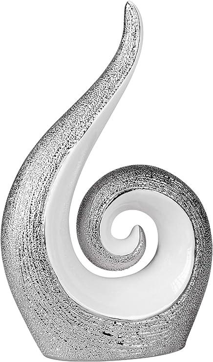 Lifestyle /& More Escultura Moderna Figura Decorativa realizada en cer/ámica Blanca con Bola de Plata Altura 20 cm