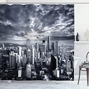 Ambesonne Wanderlust Decor Collection, Seattle Cityscape Business Buildings Skylines Dark Clouds Sunset Artistic Image Print, Polyester Fabric Bathroom Shower Curtain Set with Hooks, Dark Gray