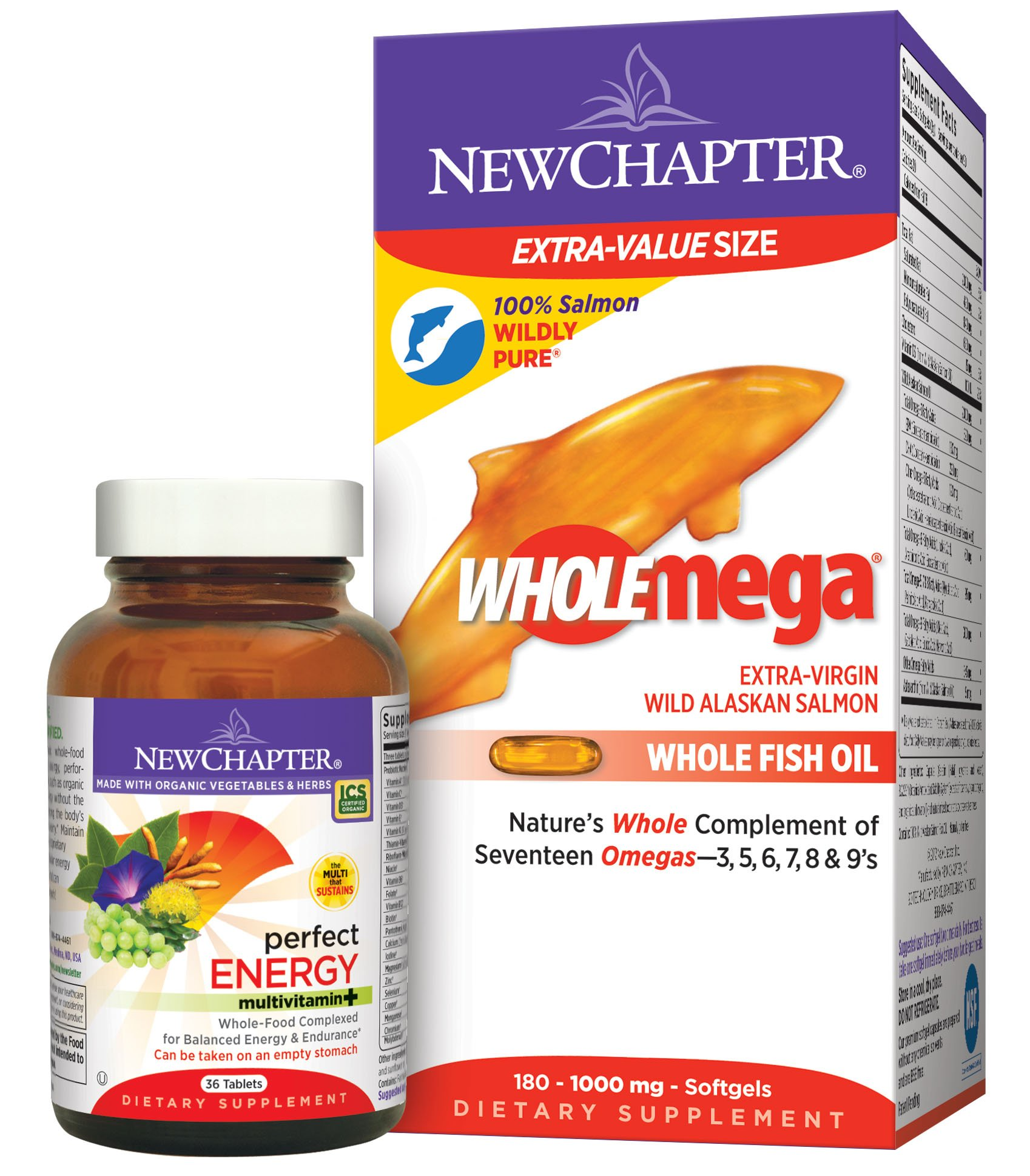 New Chapter Wholemega 180 count and Perfect Energy Multivitamin 36 count Value Pack