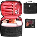 Makeup Bag Travel Large Cosmetic Bag Case Organizer Pouch with Mesh Bag Brush Holder Make Up Toiletry Bags for Women(Black)