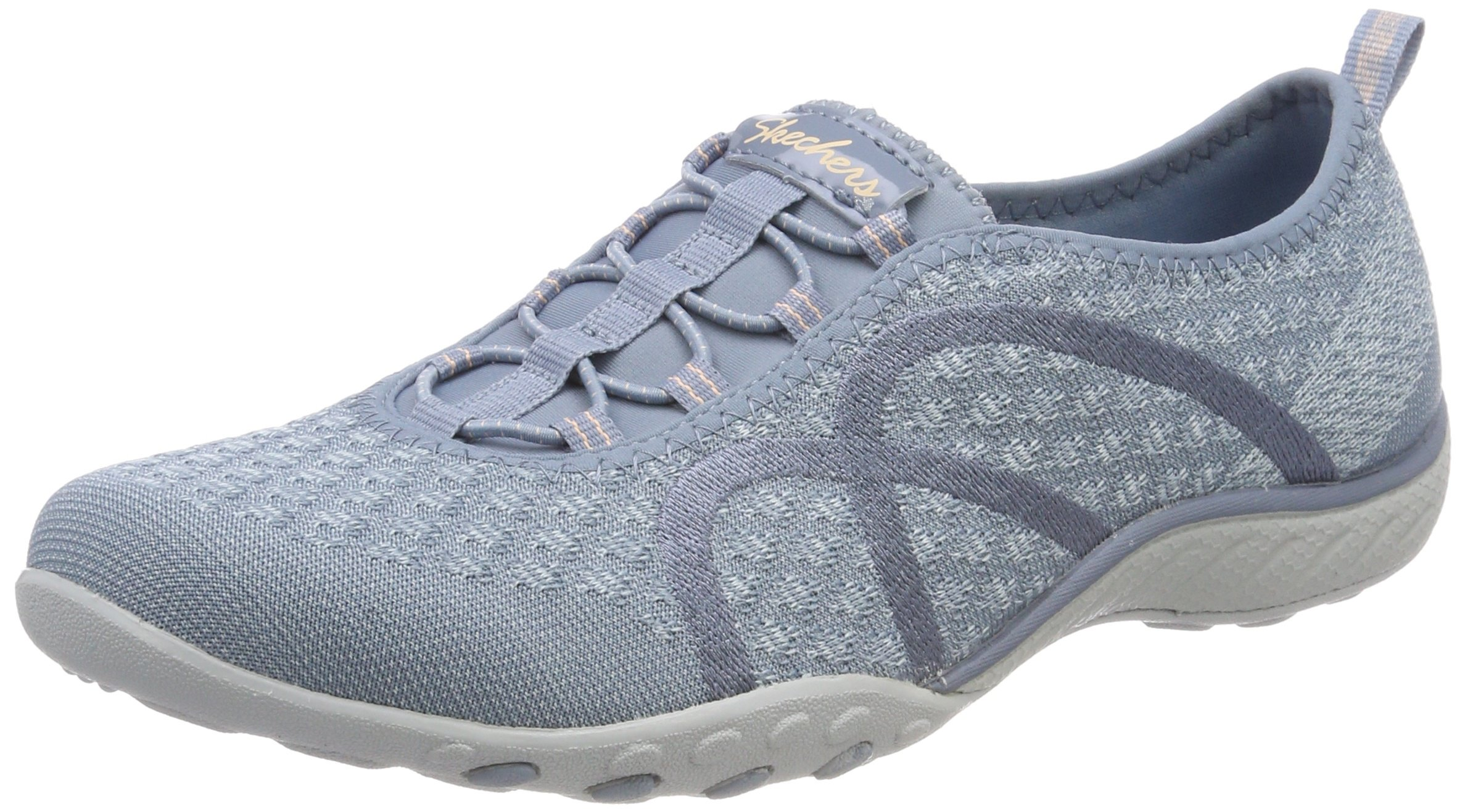 Skechers Relaxed Fit Breathe Easy Fortune Knit Womens Bungee Sneakers Blue 8