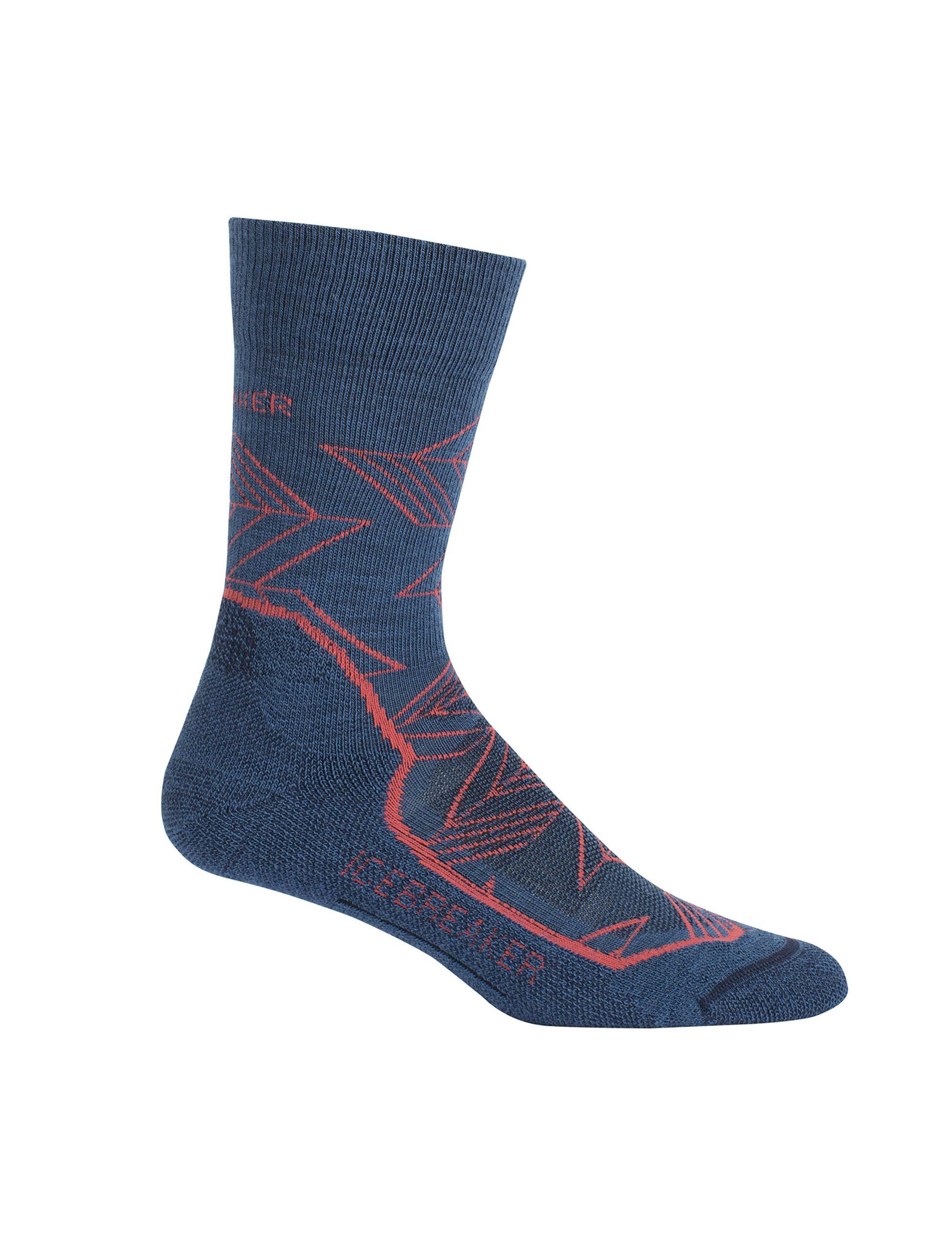 Icebreaker Merino Women's Hike+ Light Crew Patterns Socks, Intersecting Arrows/Prussian Blue/Poppy Red/Midnight Navy, Small by Icebreaker Merino