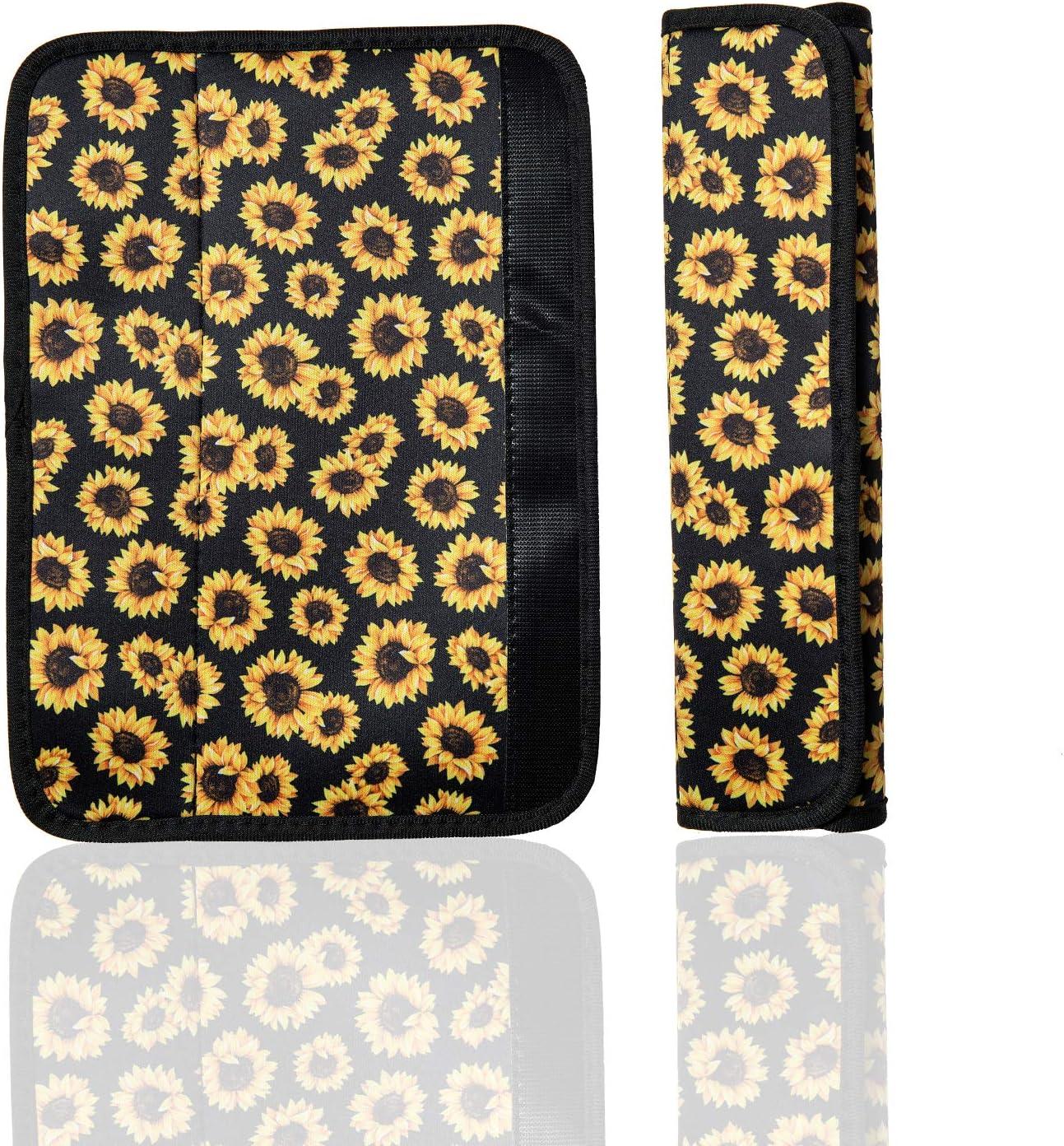 scomfy 2 Packs Steering Wheel Cover Car Seat Belt Pads Cover Universal Seat Belt Shoulder Strap Covers Harness Pad for Car//Bag Women and Men