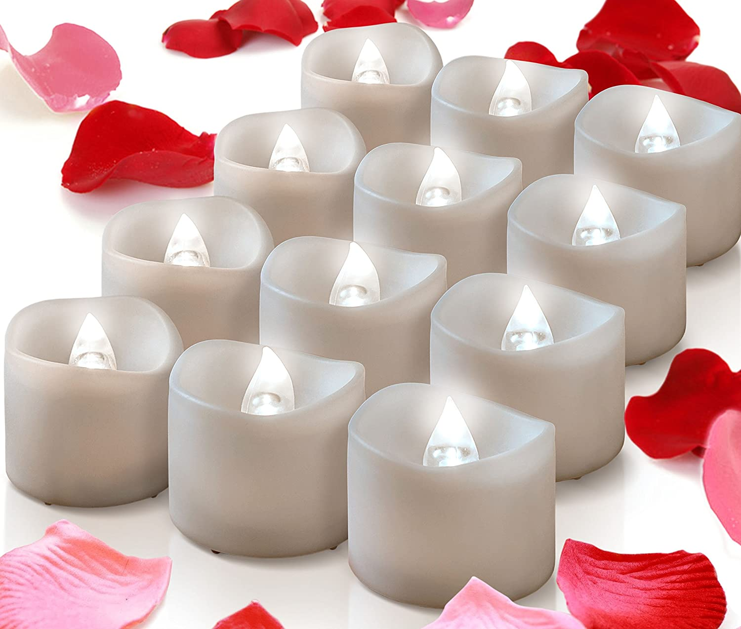 12 White Bright Battery Operated Tea Lights + Romantic Unscented Fake Rose Petals Bulk