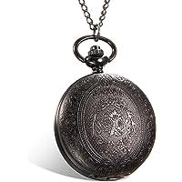 Lancardo Reloj de Bolsillo de Cuarzo Formato de 24H Cubierta Tallada Dial de Números Árabes Collar de Suéter con Cadena Joyería de Cuerpo de Moda para Hombre/Mujer/Pareja (Negro)