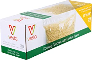 Double Zipper Non-Vacuum Seal Pouches by Vesta Precision | Clear and Flat Food Storage Bags | Does Not Require a Vacuum Sealer for Food Packaging | 11 x 16 inches | 25 Pouches per Box