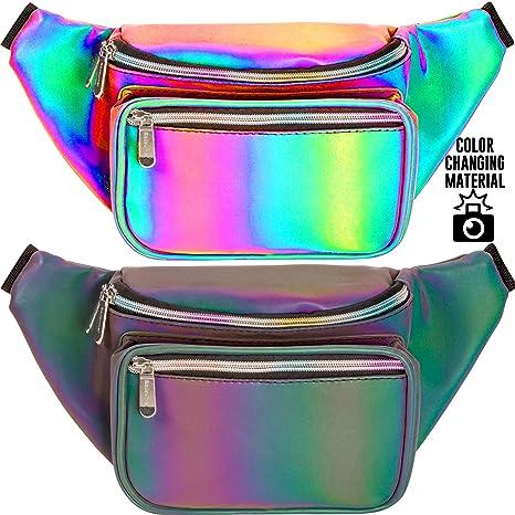 d7526f764476 SoJourner Holographic Rave Fanny Pack - Packs for festival women, men |  Cute Fashion Waist Bag Belt Bags (Luminous - Green)