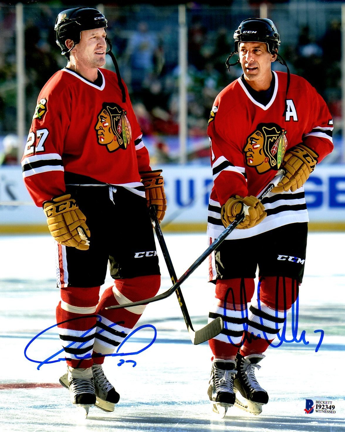 Beckett BAS Jeremy Roenick and Chris Chelios Dual Autographed Signed Chicago Blackhawks 8x10 Photo Photograph