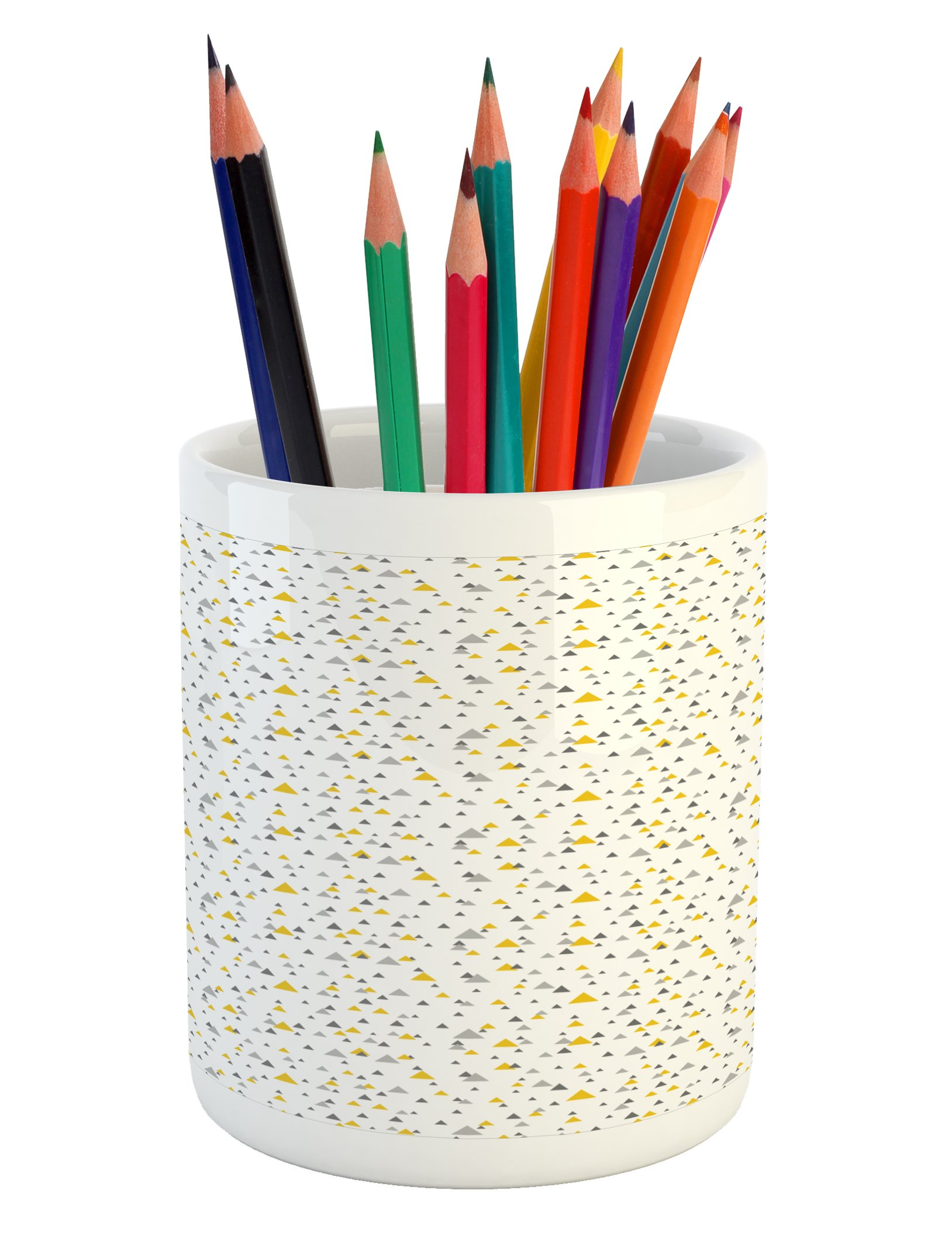 Lunarable Grey and Yellow Pencil Pen Holder, Geometric Triangles of Different Sizes Abstract Art Inspirations, Printed Ceramic Pencil Pen Holder for Desk Office Accessory, Grey Yellow Dark Grey