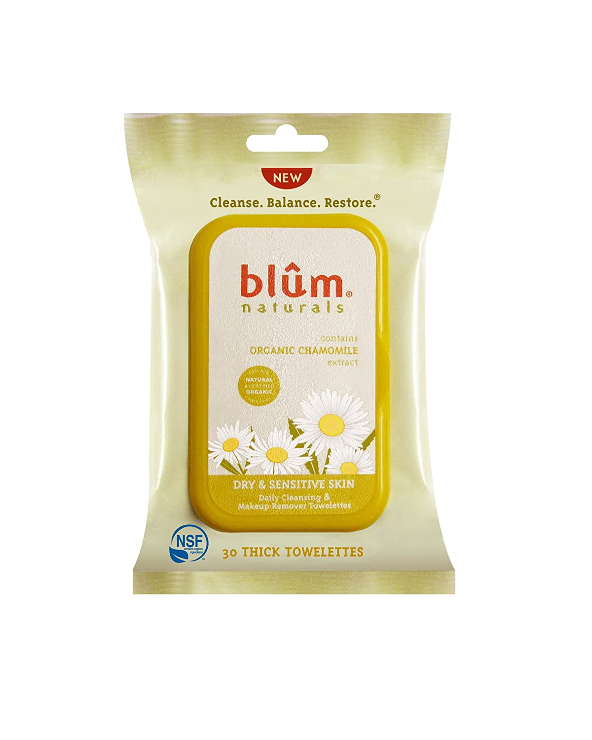 Blum Naturals Dry and Sensitive Skin Daily Cleansing Towelettes with Chamomile, 30 Count