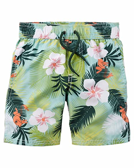 9879d4cf2 Image Unavailable. Image not available for. Color: Carter's Boys' TROPICAL  PRINT Swim Trunks ...
