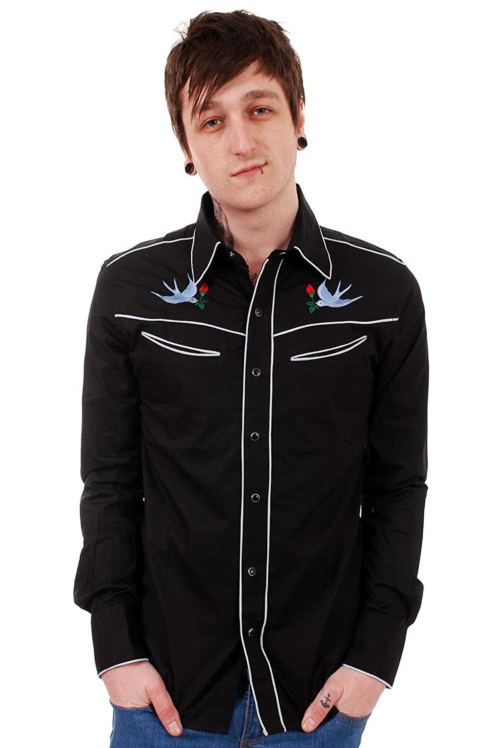 1950s Style Mens Shirts Run & Fly Mens 50s 60s Tattoo Swallows Rockabilly Western Rodeo Shirt $39.95 AT vintagedancer.com