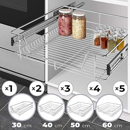 Jago Tiroir Téléscopique De Cuisine Pour Placard De 30 Cm Largeur 30 40 50 60 Cm Et Set 1 2 3 4 Et 5 Pièces Au Choix Charge Max 20 Kg