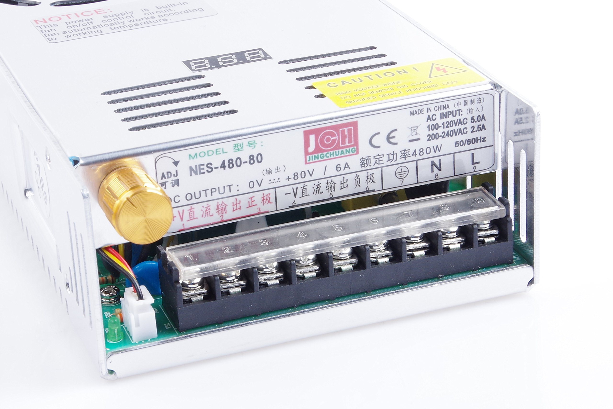 Adjustable DC Power Voltage Converter AC 110V-220V to DC 0-80V Module 80V 6A Switching Power Supply Digital Display 480W Voltage Regulator Transformer Built in Cooling Fan (DC 0-80V 6A)